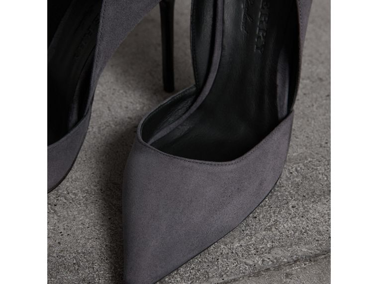 Cutaway Suede Pumps in Grey Navy - Women | Burberry - cell image 1