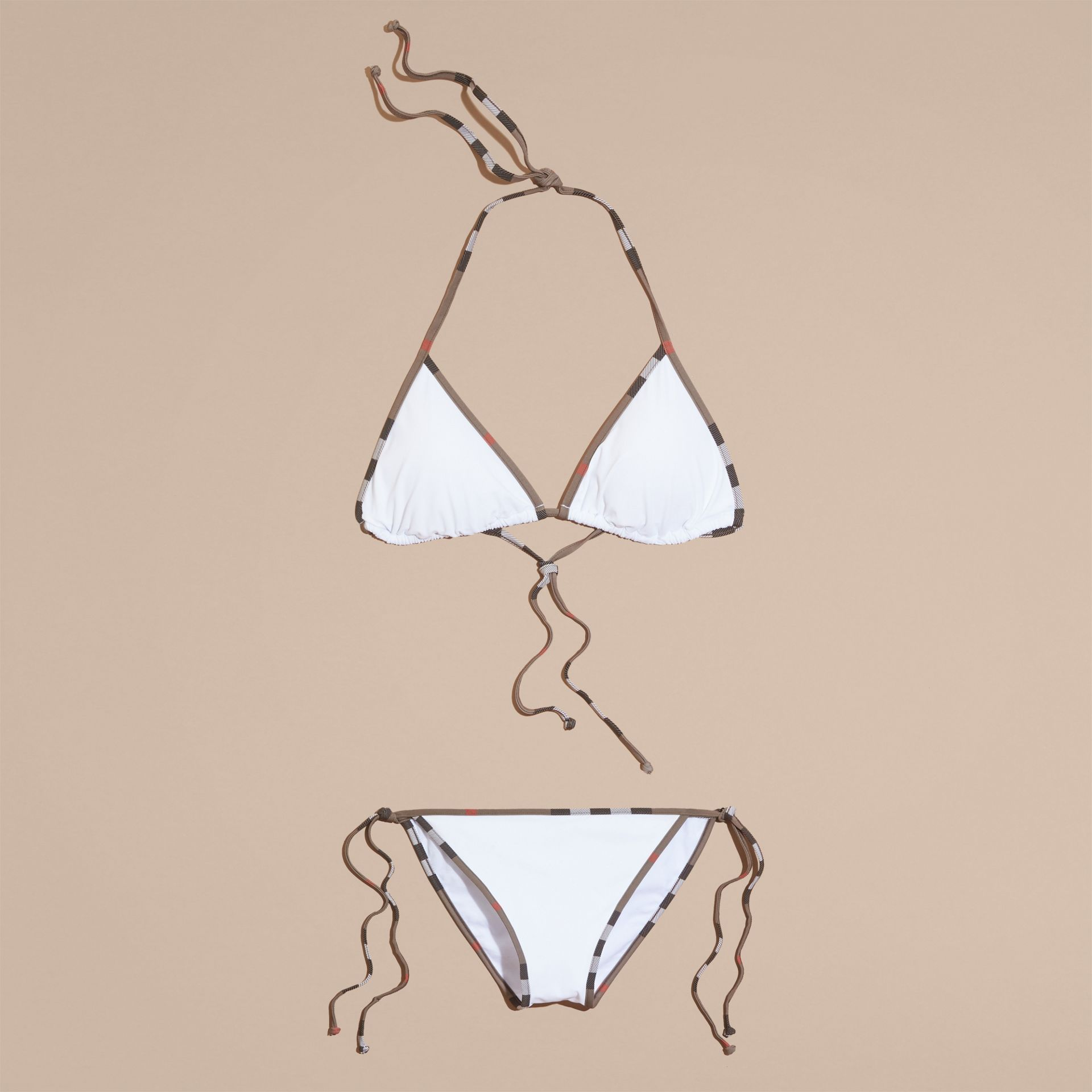 Blanc Bikini triangle avec bordure check Blanc - photo de la galerie 4