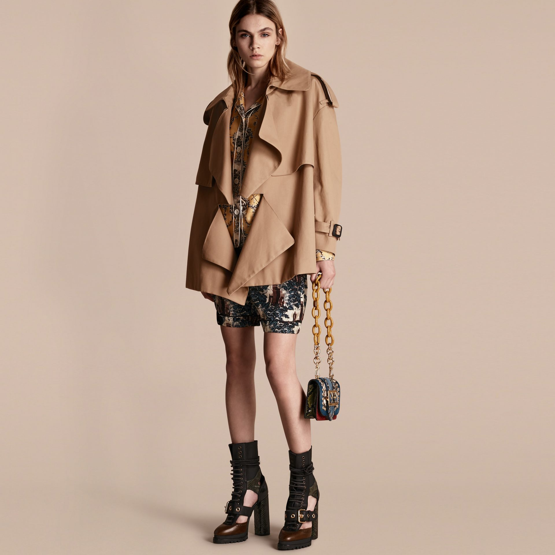 Cotton Gabardine Deconstructed Cropped Trench Coat - Women | Burberry - gallery image 1