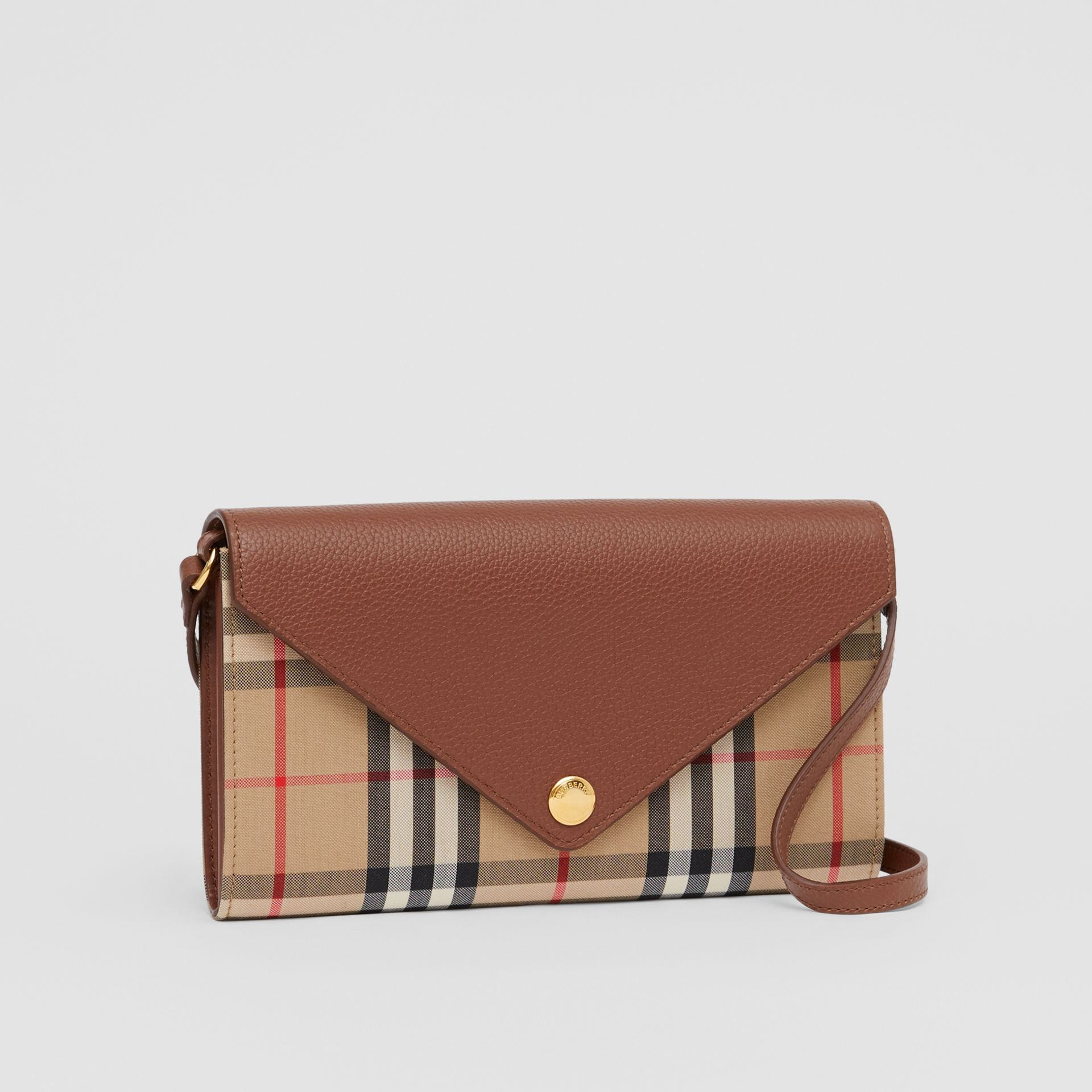 Vintage Check and Leather Wallet with Detachable Strap in Tan - Women | Burberry - gallery image 6