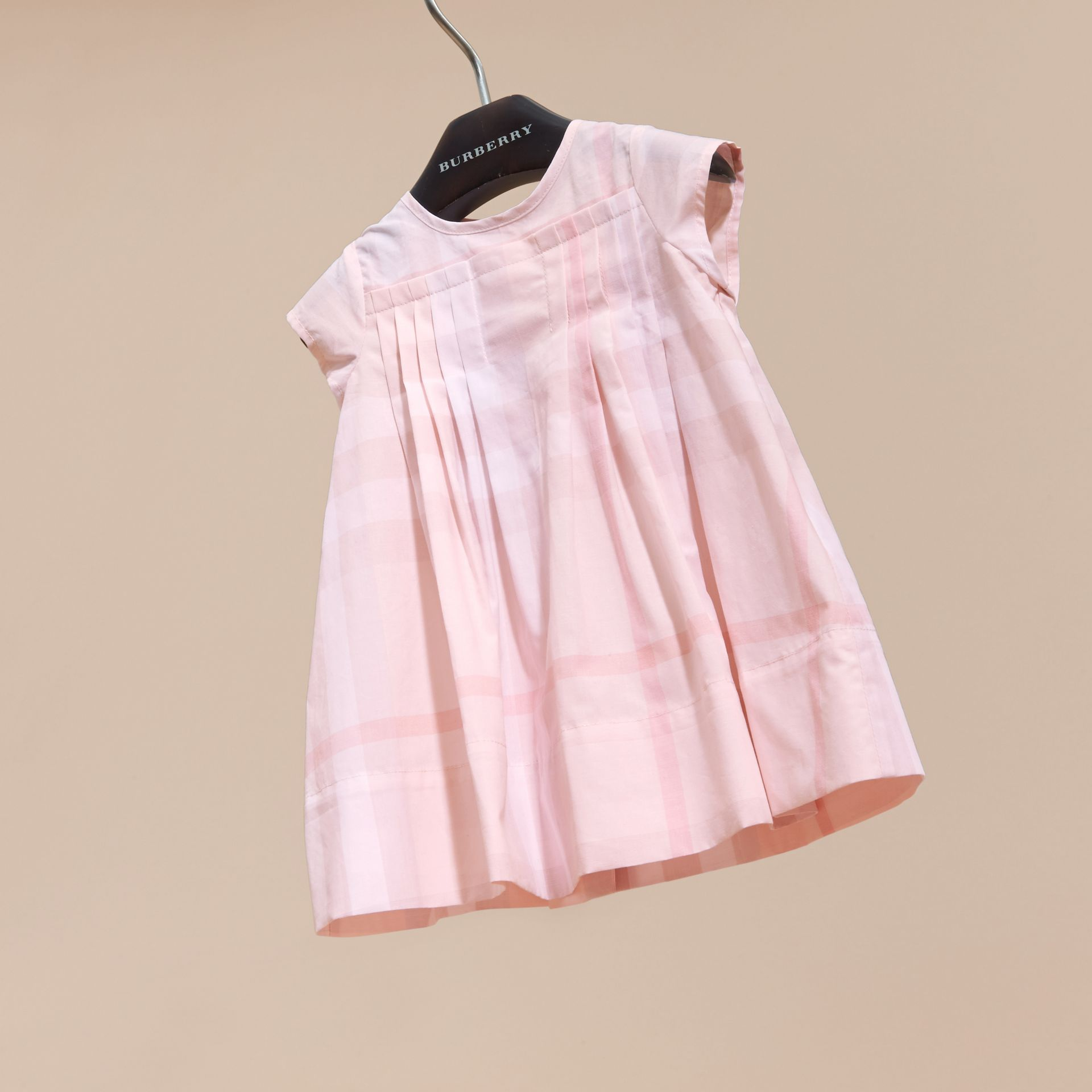 Check Cotton Pleat Dress in Ice Pink | Burberry - gallery image 3