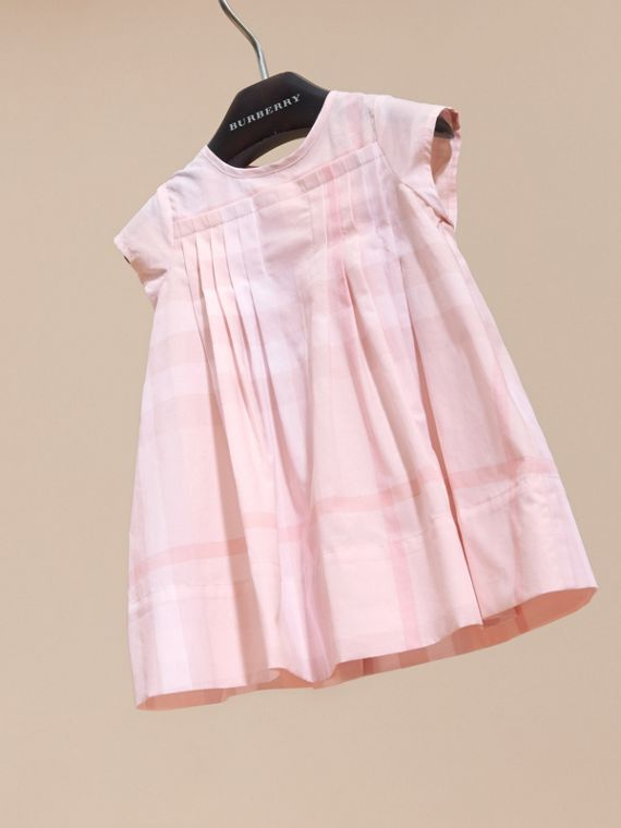 Check Cotton Pleat Dress in Ice Pink | Burberry - cell image 2