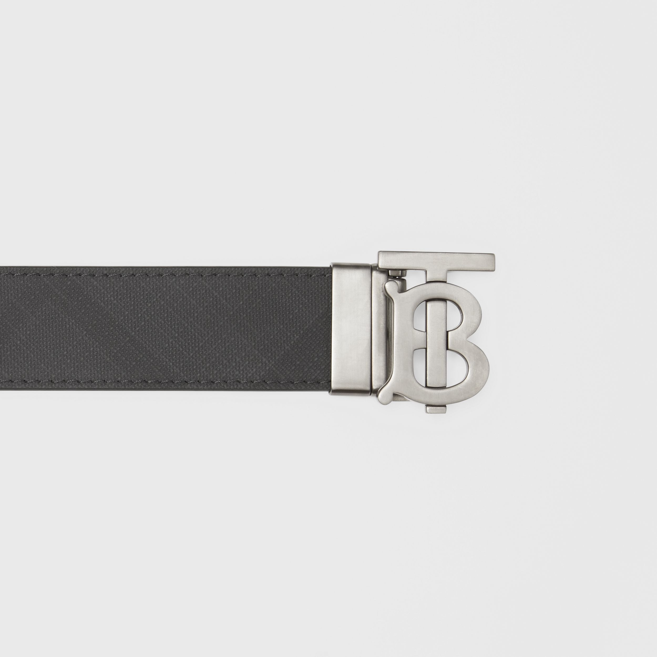 Reversible Monogram Motif London Check Belt in Dark Charcoal - Men | Burberry Canada - 2