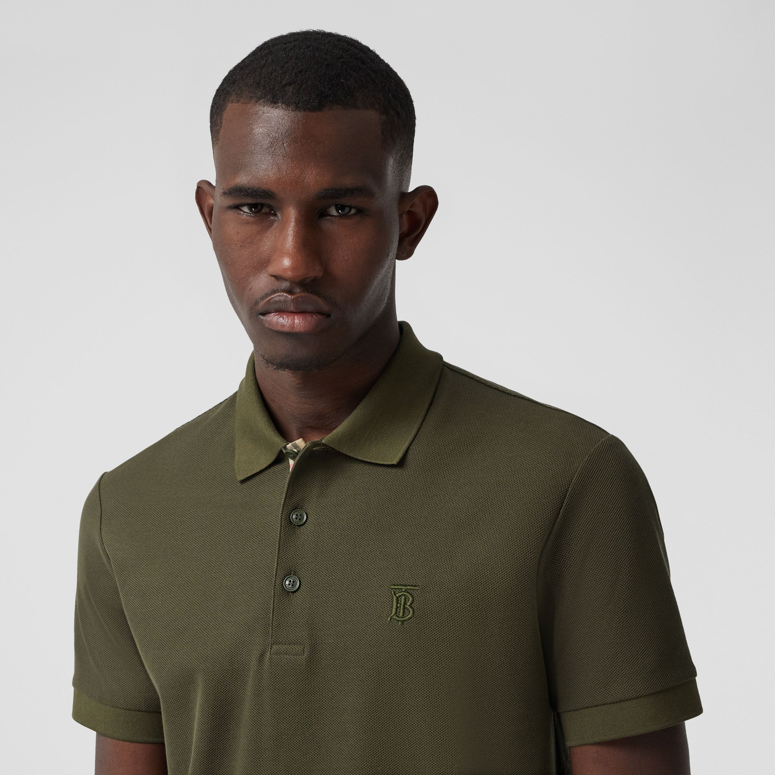 Monogram Motif Cotton Piqué Polo Shirt in Dark Olive - Men | Burberry - 2