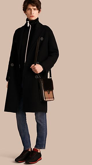 Double-breasted Check-lined Wool Cashmere Coat