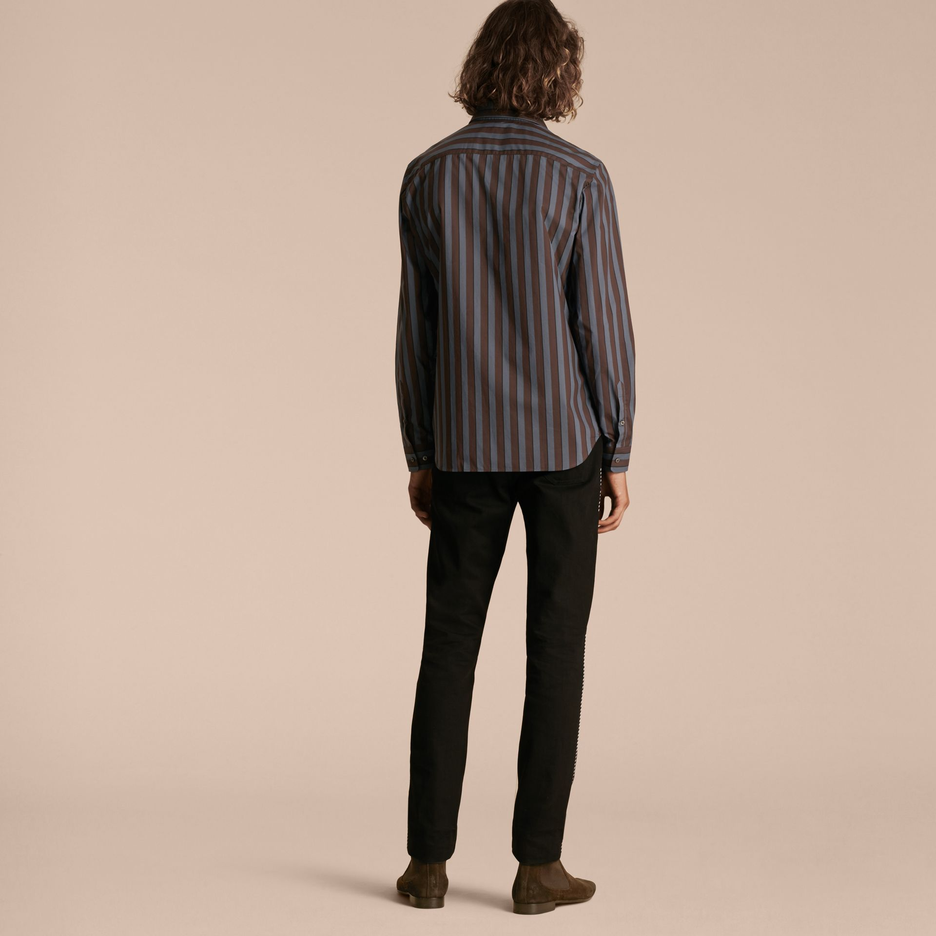Navy Slim Fit Pyjama Stripe Cotton Poplin Shirt - gallery image 3