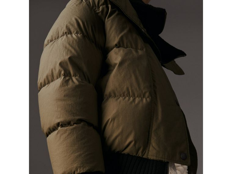 Oversized Rib Knit Collar Down-filled Bomber Jacket in Olive Green - Women | Burberry - cell image 4