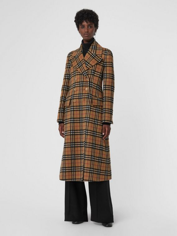 Vintage Check Alpaca Wool Tailored Coat in Antique Yellow