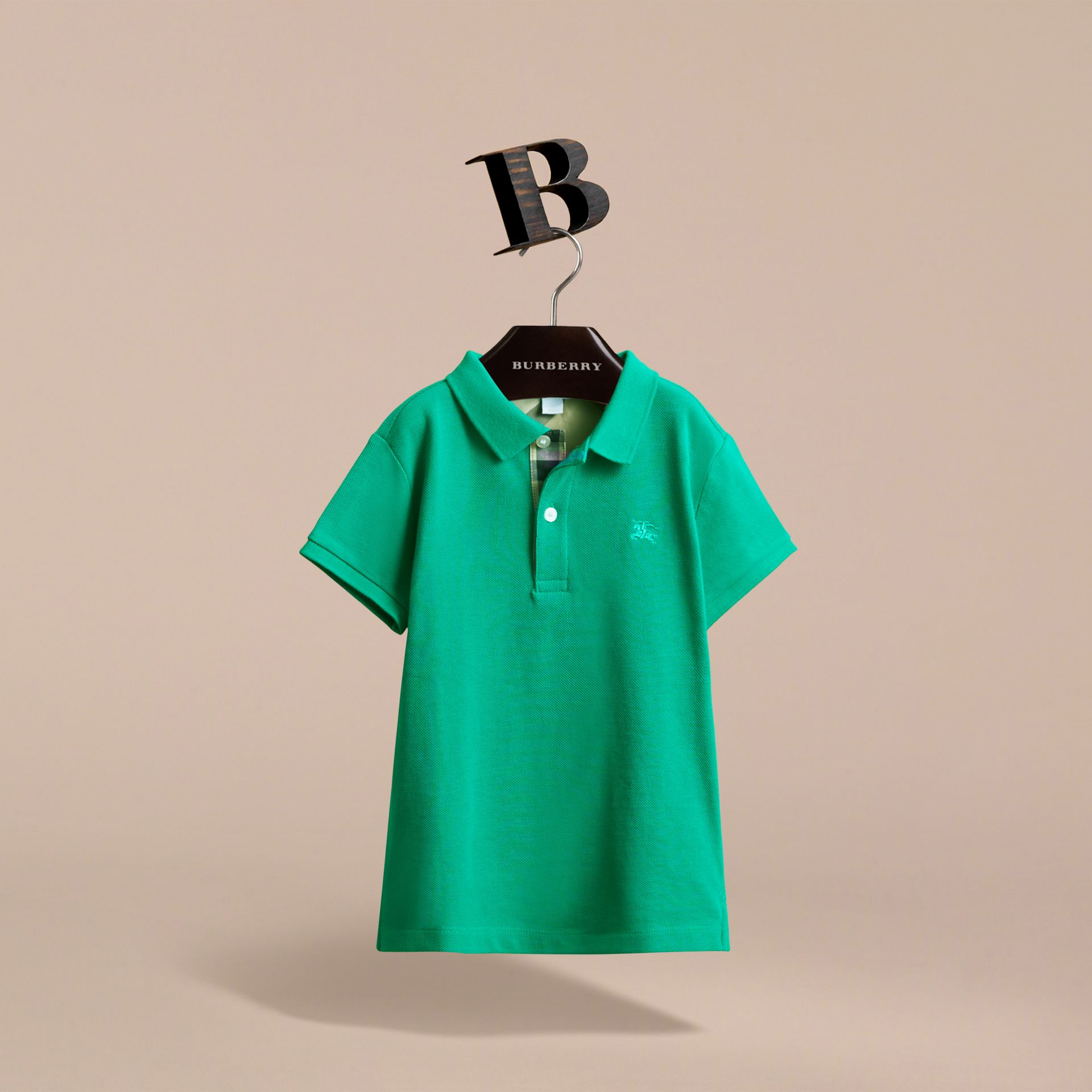 Check Placket Polo Shirt in Bright Green | Burberry - gallery image 3