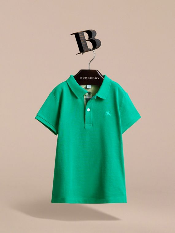 Check Placket Polo Shirt in Bright Green - Boy | Burberry - cell image 2