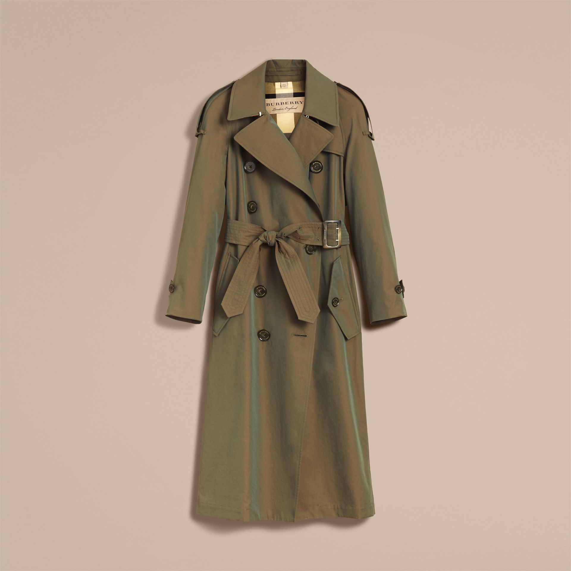 Tropical Gabardine Trench Coat in Bright Olive - Women | Burberry - gallery image 4