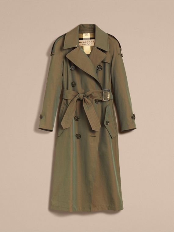 Tropical Gabardine Trench Coat in Bright Olive - Women | Burberry Australia - cell image 3