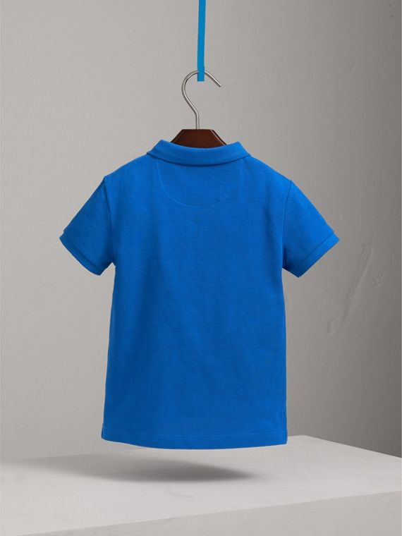 Check Placket Polo Shirt in Cobalt Blue - Boy | Burberry Australia - cell image 3