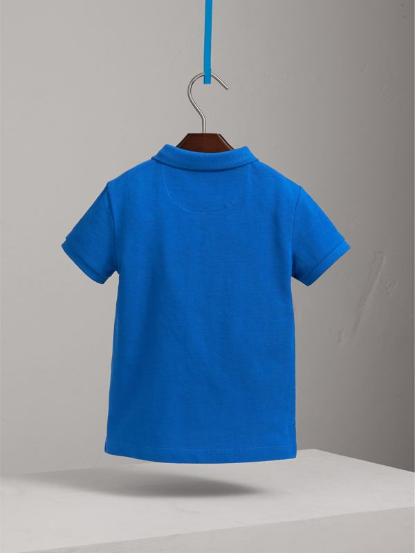 Check Placket Polo Shirt in Cobalt Blue | Burberry - cell image 3