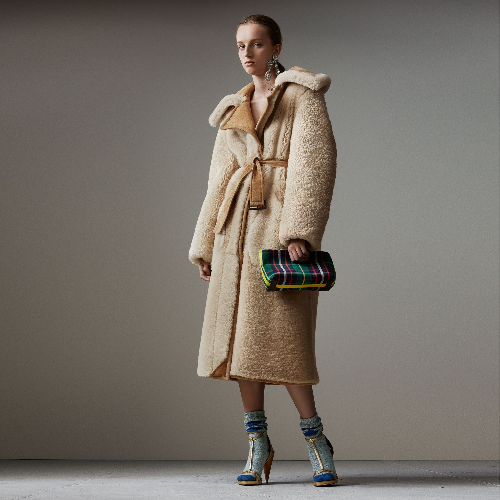 Shearling Oversized Belted Coat in Camel/off White - Women | Burberry - gallery image 0