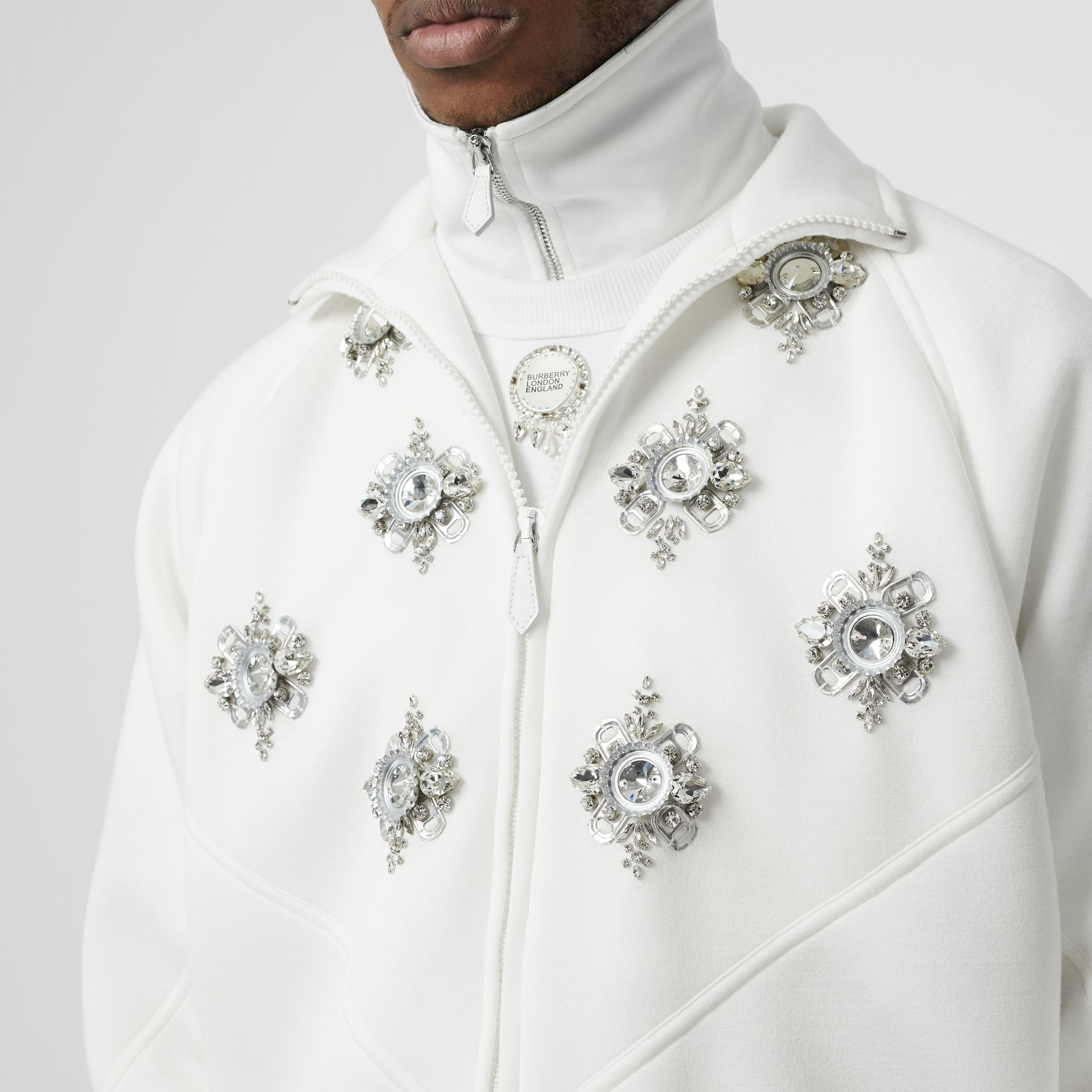 Bottle Cap Detail Jersey Track Jacket in White - Men | Burberry - gallery image 1