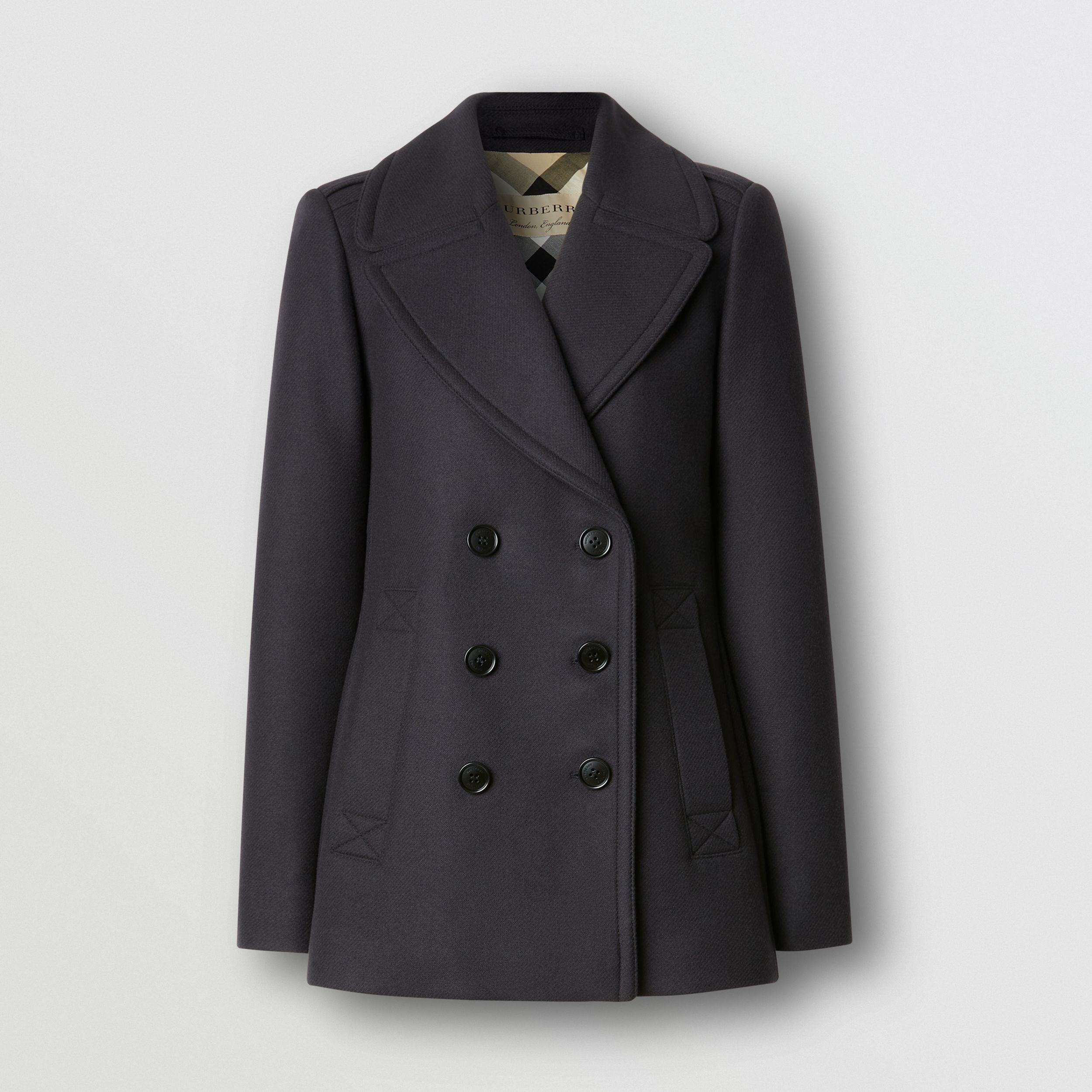 Wool Cashmere Blend Pea Coat in Navy - Women | Burberry - 1