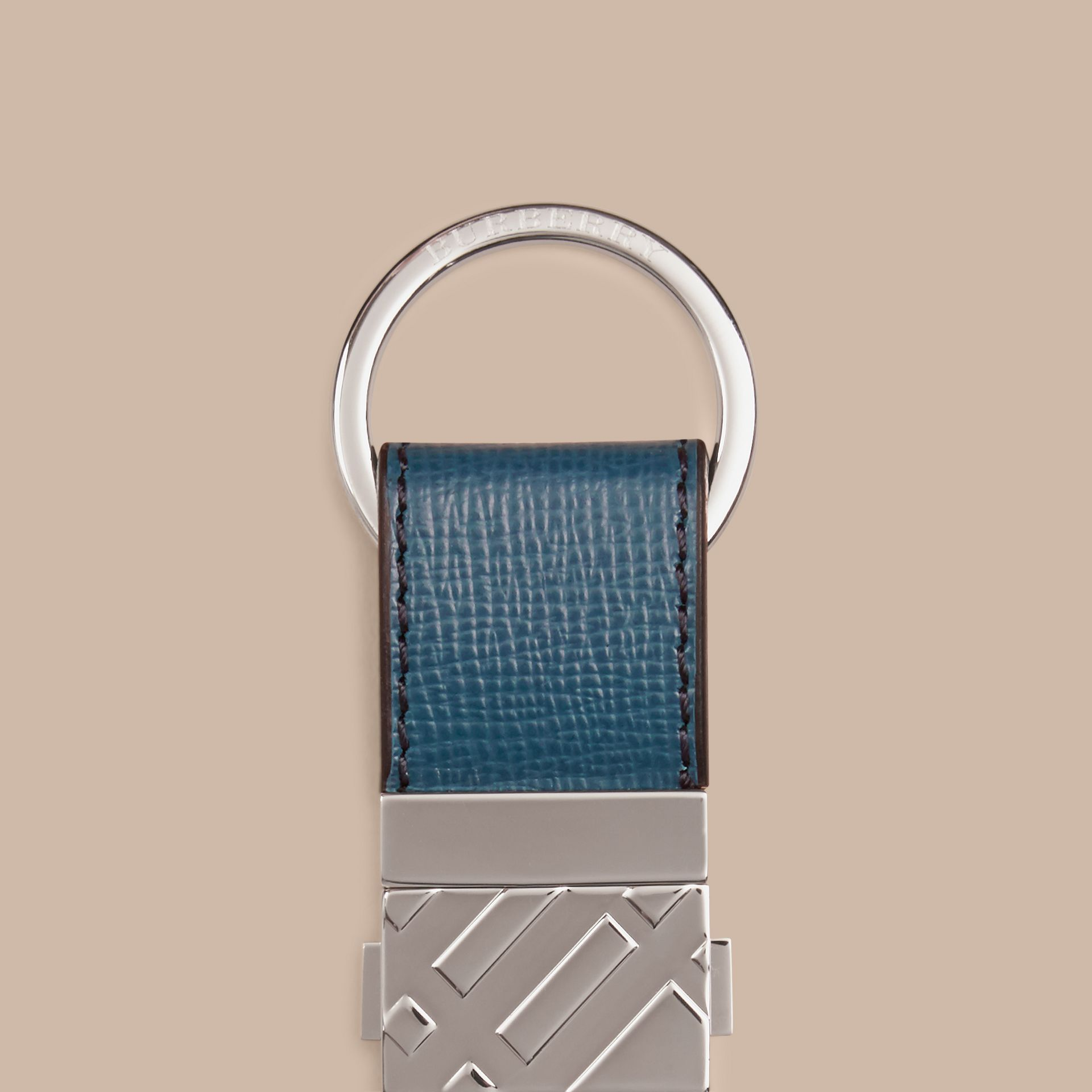 Mineral blue London Leather Valet Key Ring Mineral Blue - gallery image 2