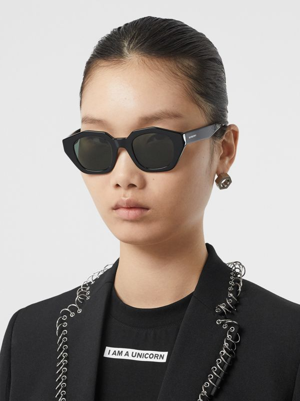 Geometric Frame Sunglasses in Black | Burberry - cell image 2