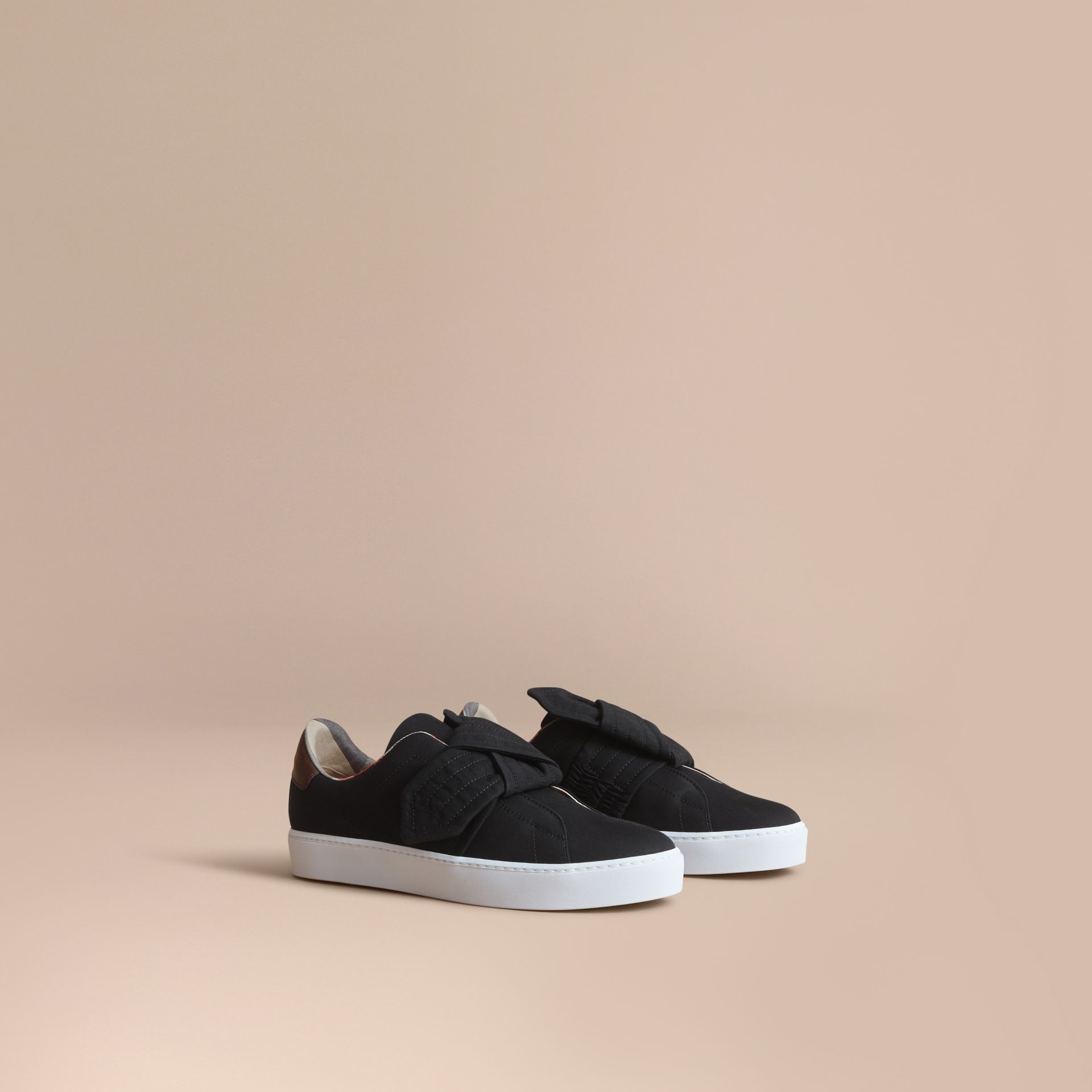 Trench Knot Cotton Gabardine Trainers in Black - Women | Burberry - gallery image 1