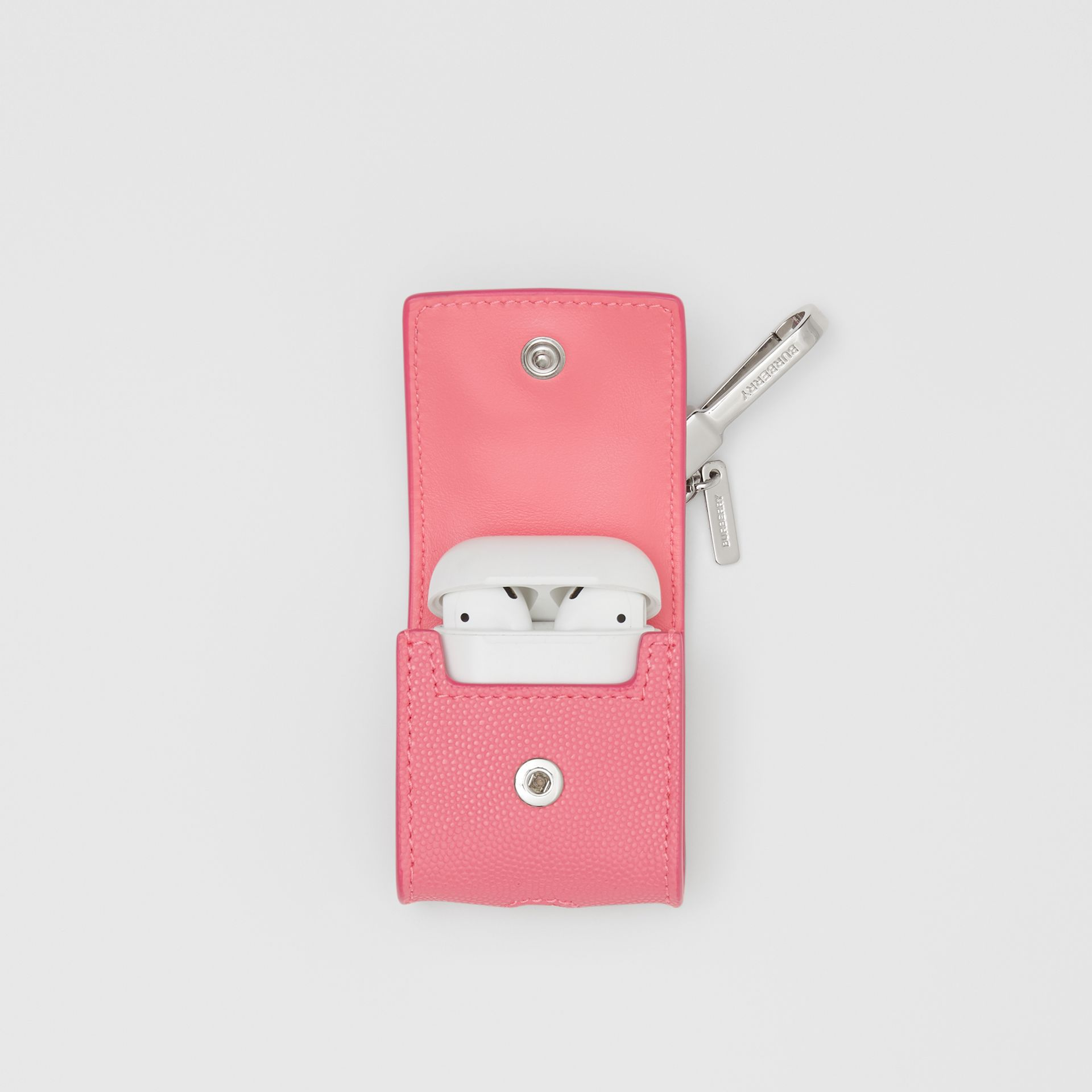 Grainy Leather AirPods Case in Candy Floss - Women   Burberry Canada - gallery image 4
