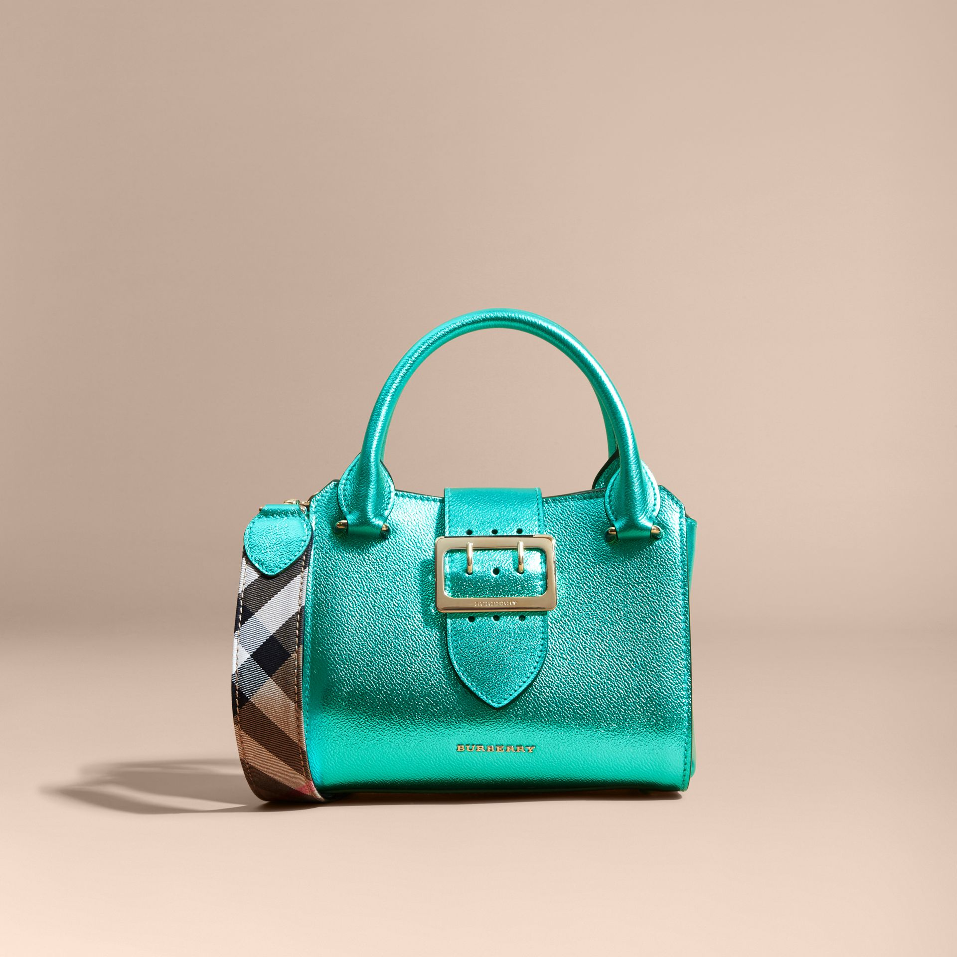 The Small Buckle Tote in Metallic Leather Emerald - gallery image 8