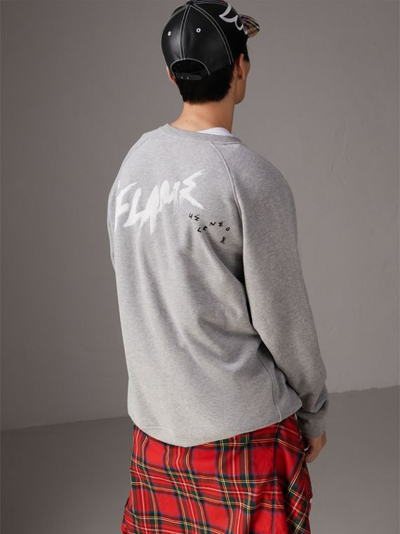 Burberry x Kris Wu Graphic Motif Sweatshirt in Pale Grey Melange - Men | Burberry United States - cell image 2