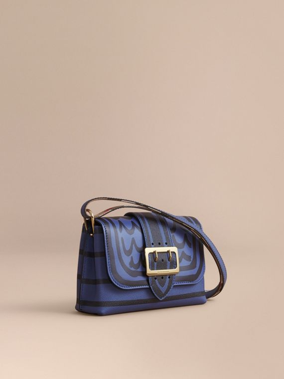 The Buckle Crossbody Bag in Trompe L'oeil Leather Steel Blue