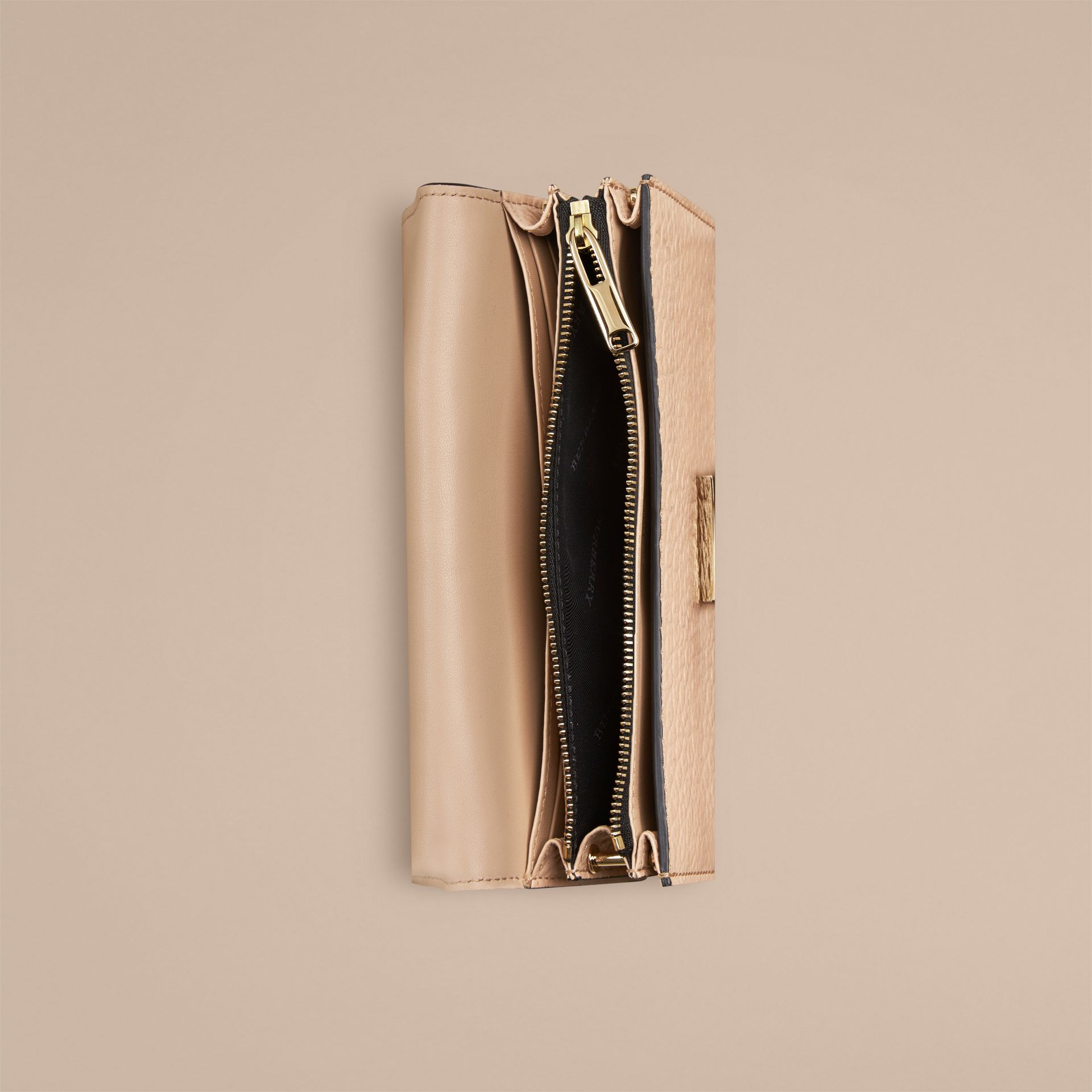 Pale apricot Signature Grain Leather Clutch Bag with Chain - gallery image 4