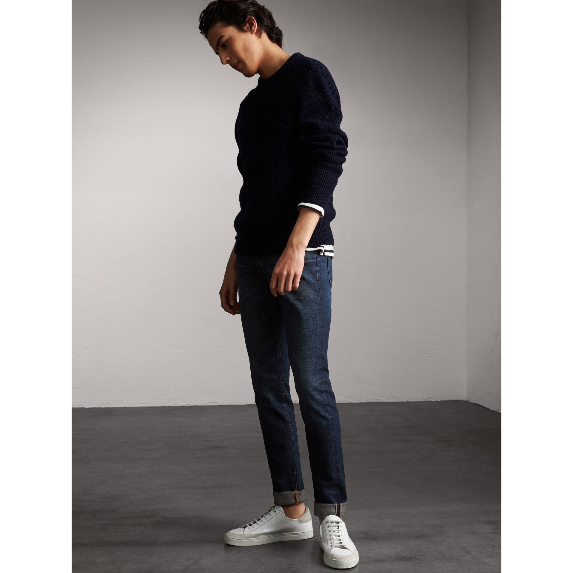 Skinny Fit Brushed Stretch Denim Jeans in Vintage Blue - Men | Burberry - gallery image 1