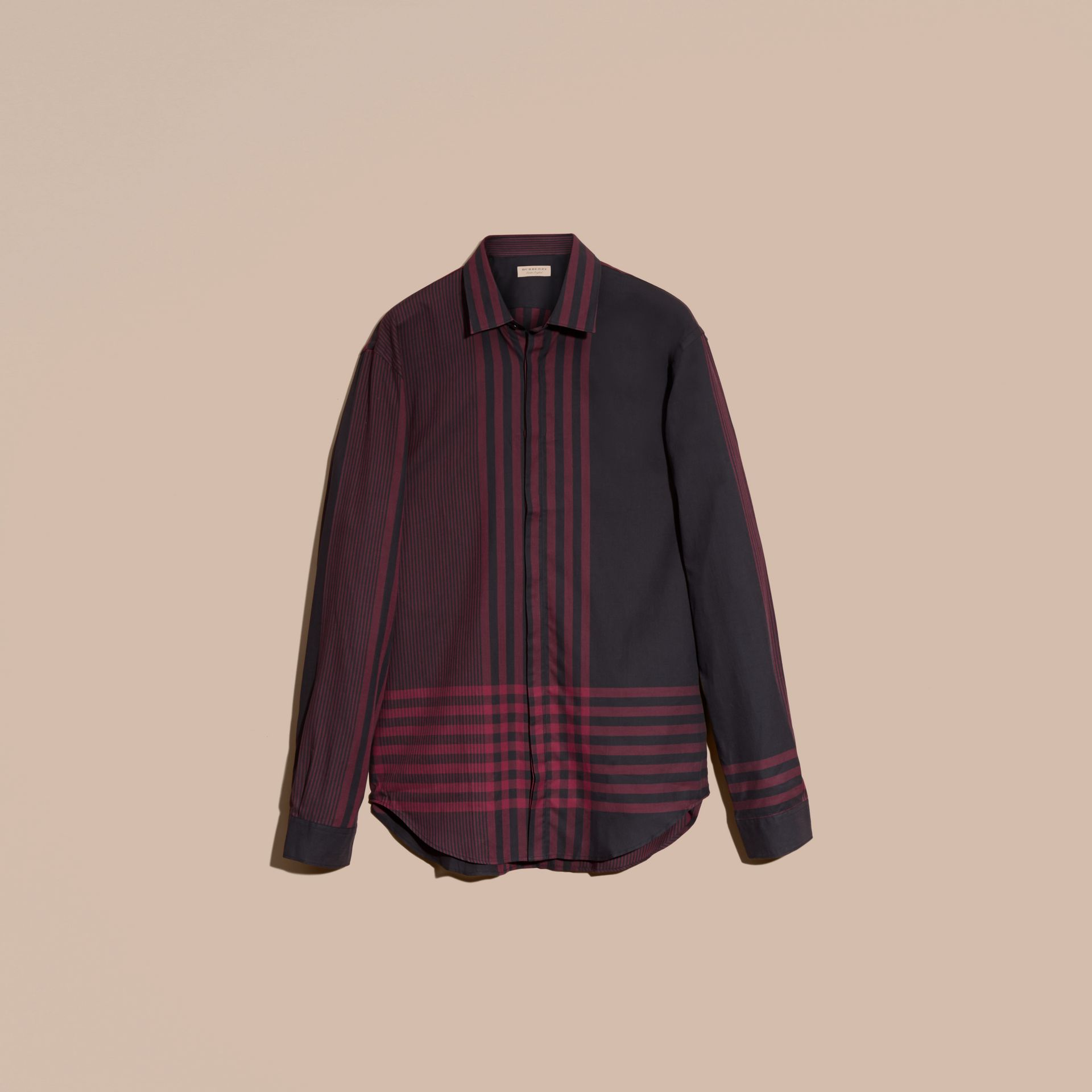 Burgundy red Graphic Check Cotton Shirt Burgundy Red - gallery image 4