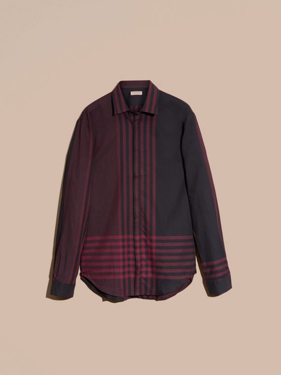 Burgunderrot Baumwollhemd mit grafischem Check-Muster Burgunderrot - cell image 3
