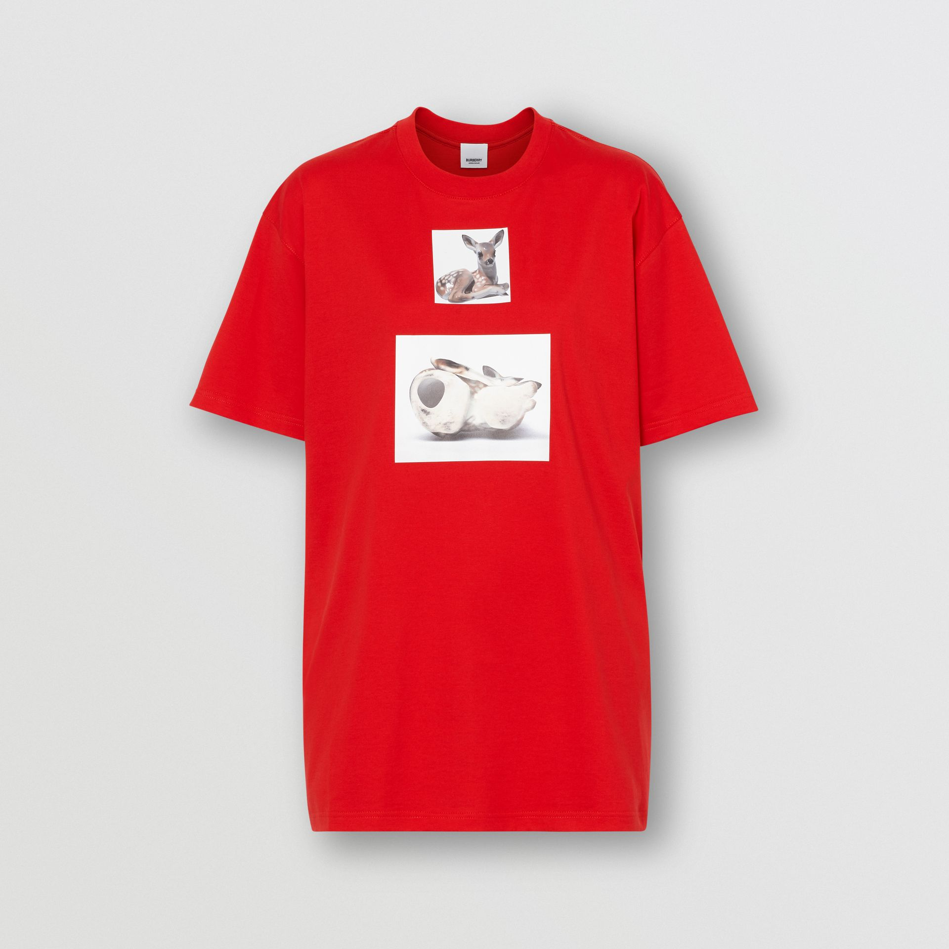 Deer Print Cotton Oversized T-shirt in Bright Red - Women | Burberry - gallery image 3