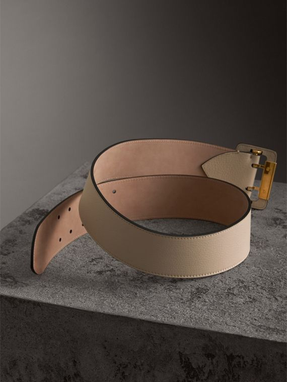 Double Pin Buckle Leather Belt in Limestone - Women | Burberry - cell image 3