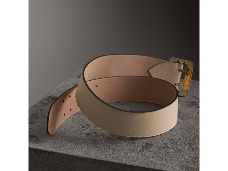 Double Pin Buckle Leather Belt in Limestone - Women | Burberry - cell image 2