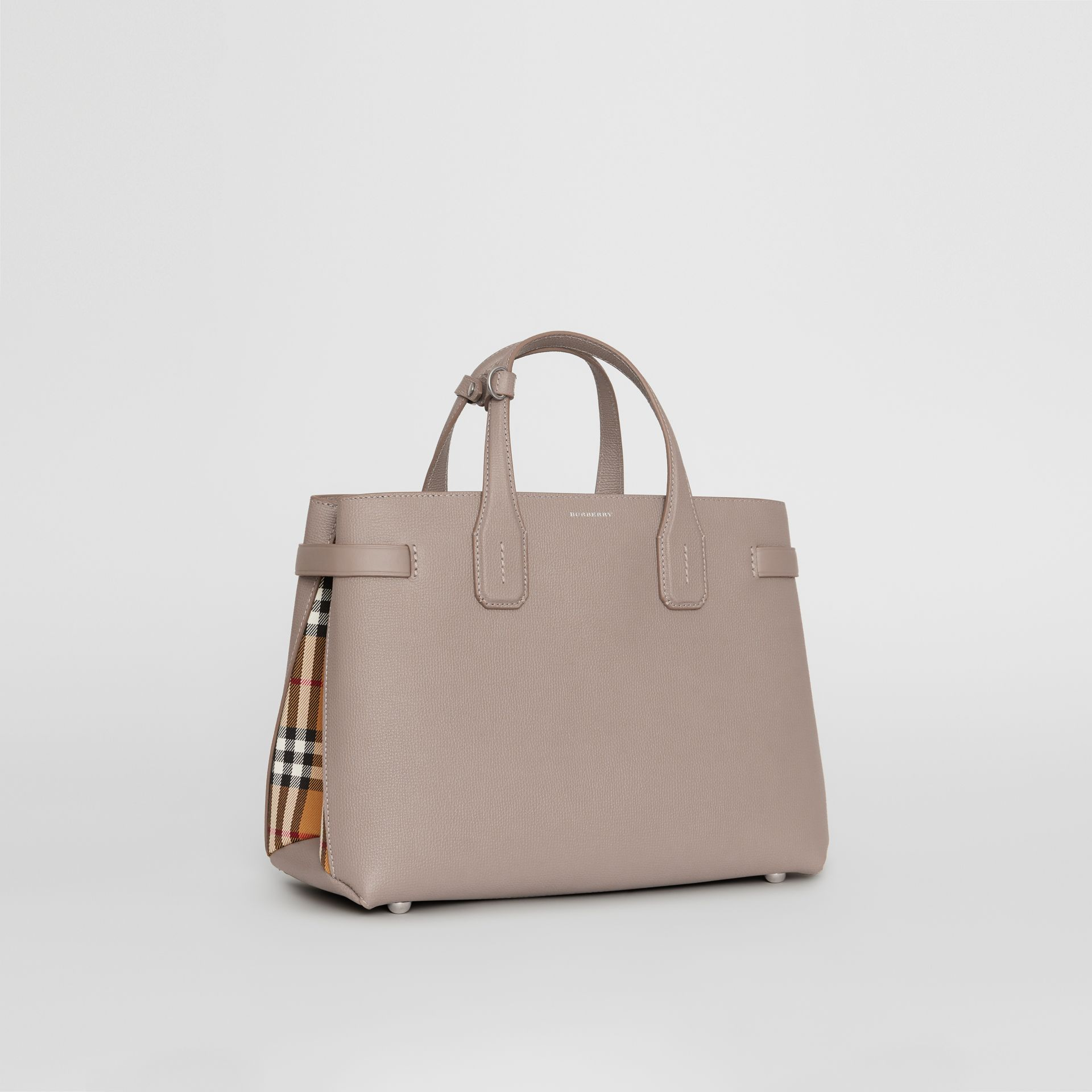 The Medium Banner in Leather and Vintage Check in Taupe Brown - Women | Burberry United States - gallery image 0