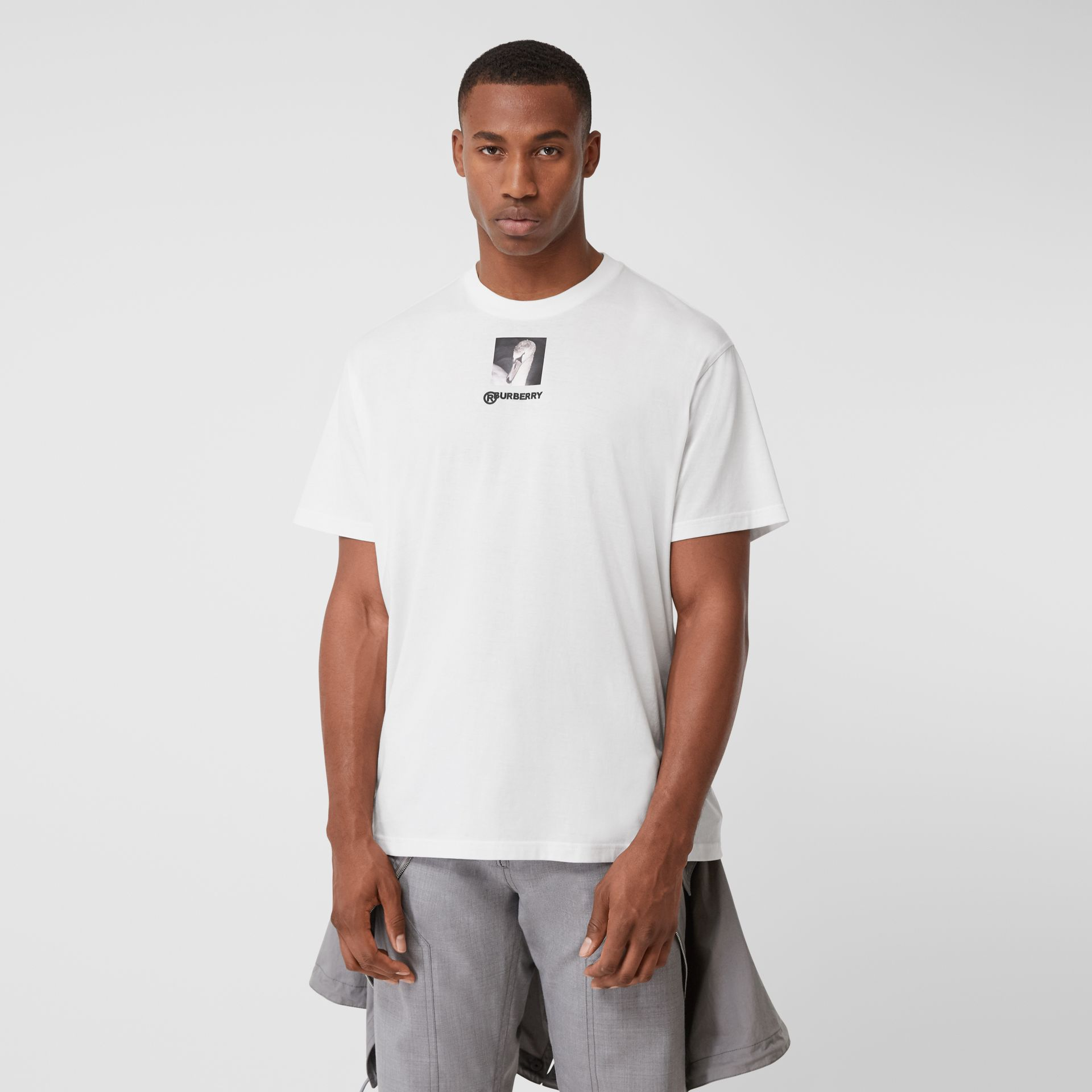 Swan and Logo Print Cotton Oversized T-shirt in Optic White | Burberry United Kingdom - gallery image 0