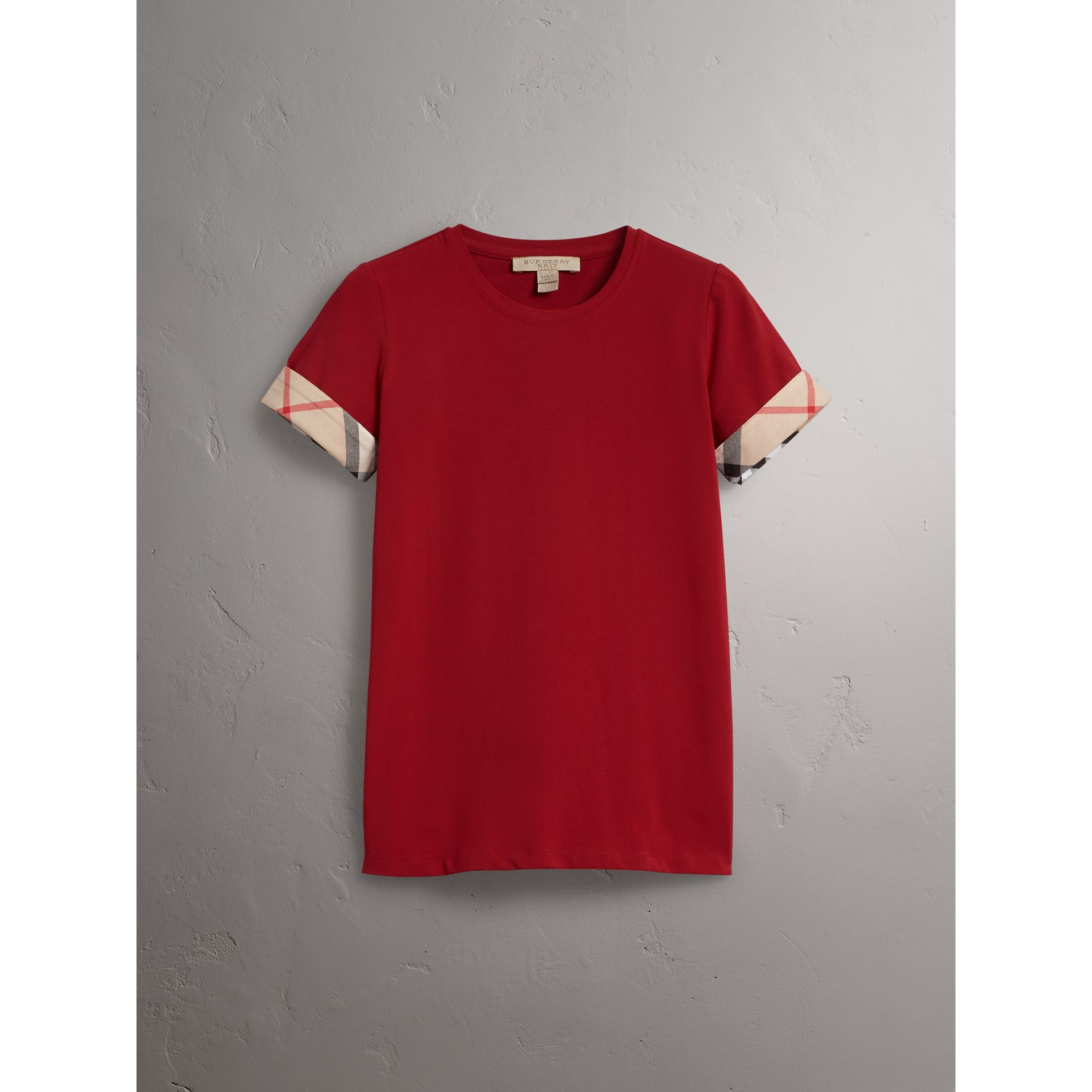 Check Cuff Stretch Cotton T-Shirt in Lacquer Red - Women | Burberry - gallery image 3