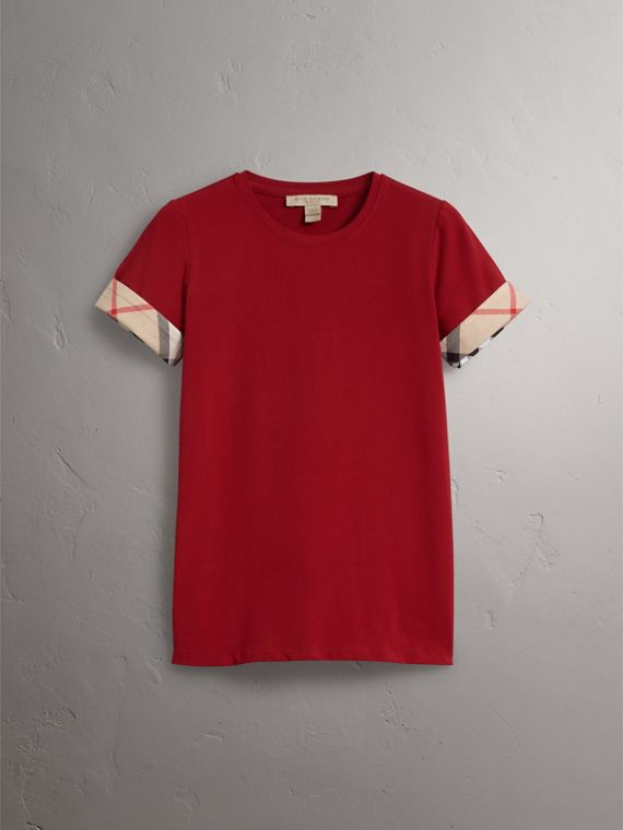 Check Cuff Stretch Cotton T-Shirt in Lacquer Red - Women | Burberry - cell image 3