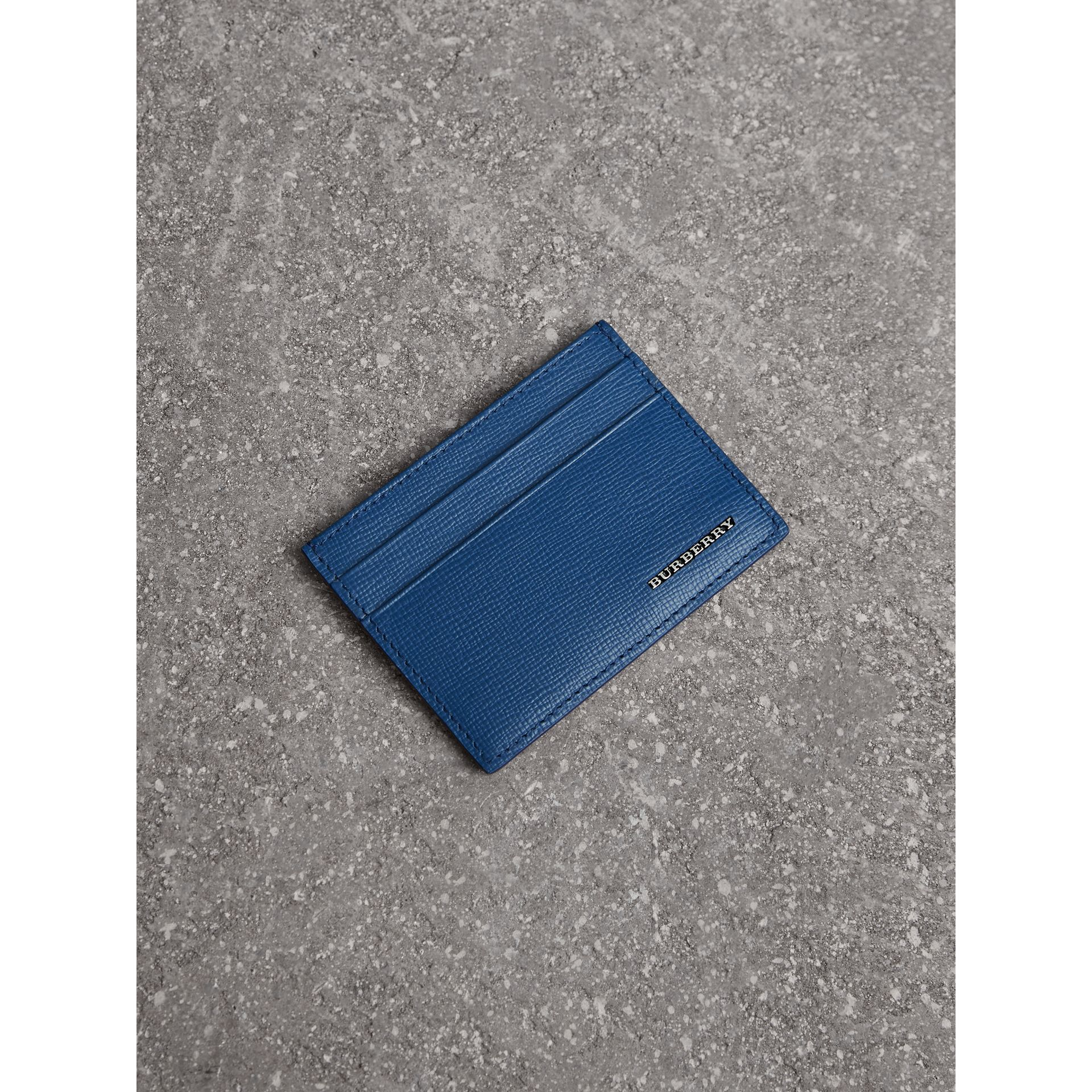 London Leather Card Case in Deep Blue | Burberry - gallery image 0
