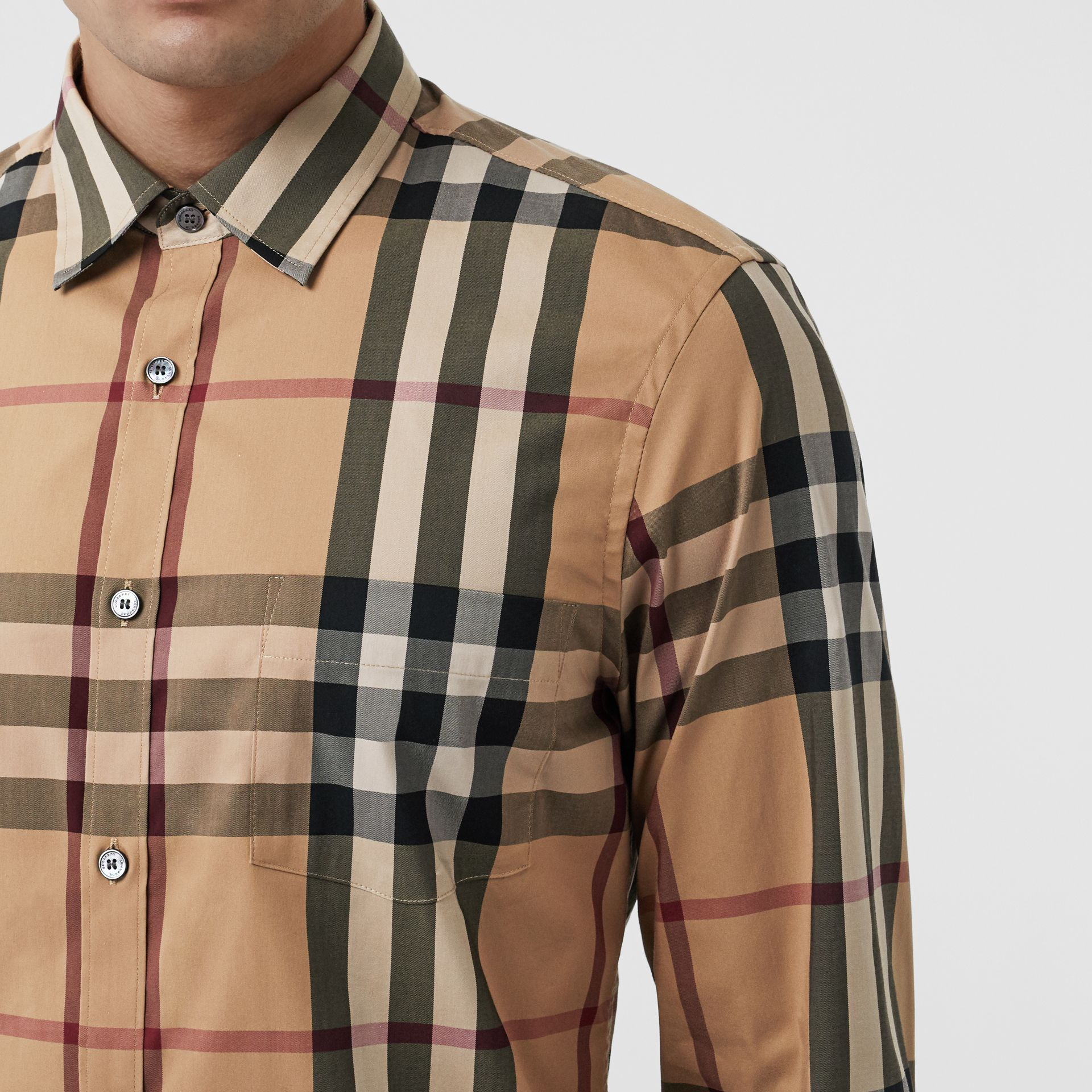 Check Stretch Cotton Shirt in Camel - Men | Burberry Hong Kong S.A.R - gallery image 1