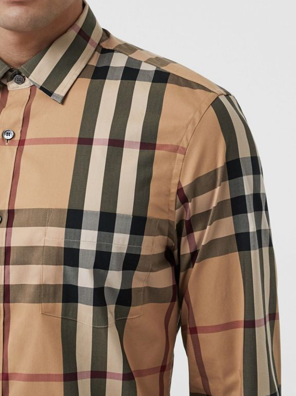Check Stretch Cotton Shirt in Camel - Men | Burberry Hong Kong S.A.R - cell image 1