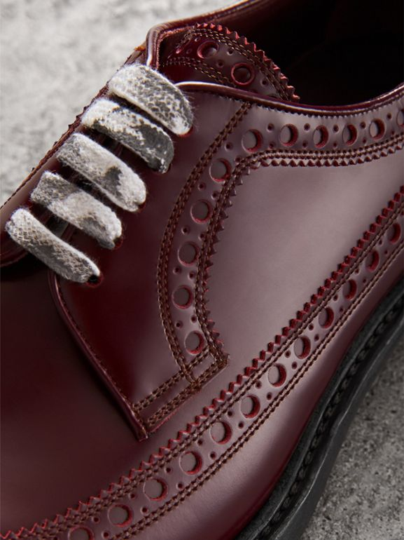 Leather Brogues with Painted Laces in Ebony Red - Men | Burberry United Kingdom - cell image 1