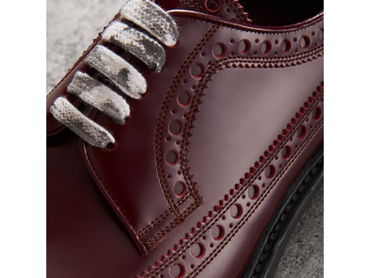 Leather Brogues with Painted Laces in Ebony Red - Men | Burberry Singapore - cell image 1