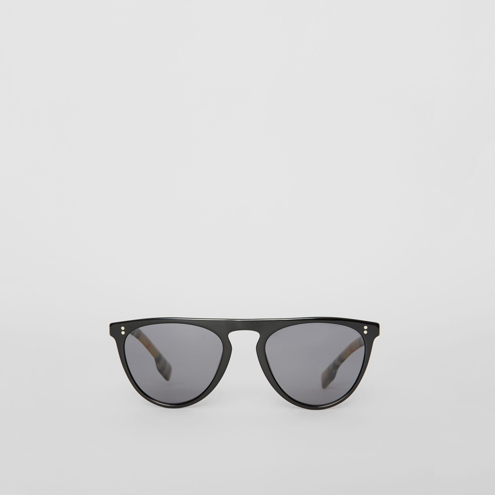 Vintage Check Detail Keyhole D-shaped Sunglasses in Black/beige - Men | Burberry - gallery image 0