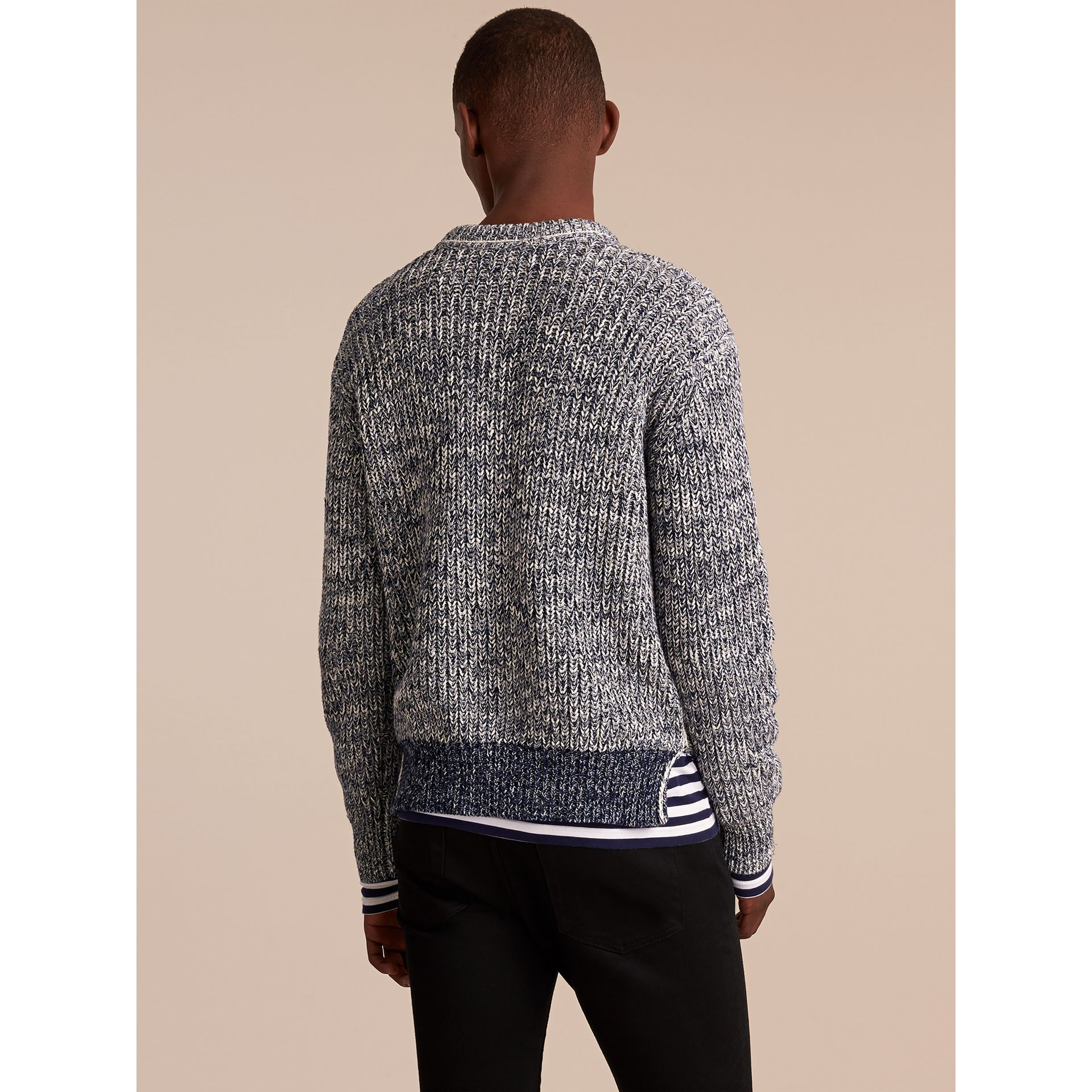 Chunky Knit Mouline Cotton Sweater in Bright Navy - Men | Burberry - gallery image 3