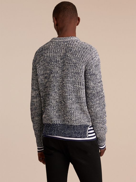 Chunky Knit Mouline Cotton Sweater in Bright Navy - Men | Burberry - cell image 2