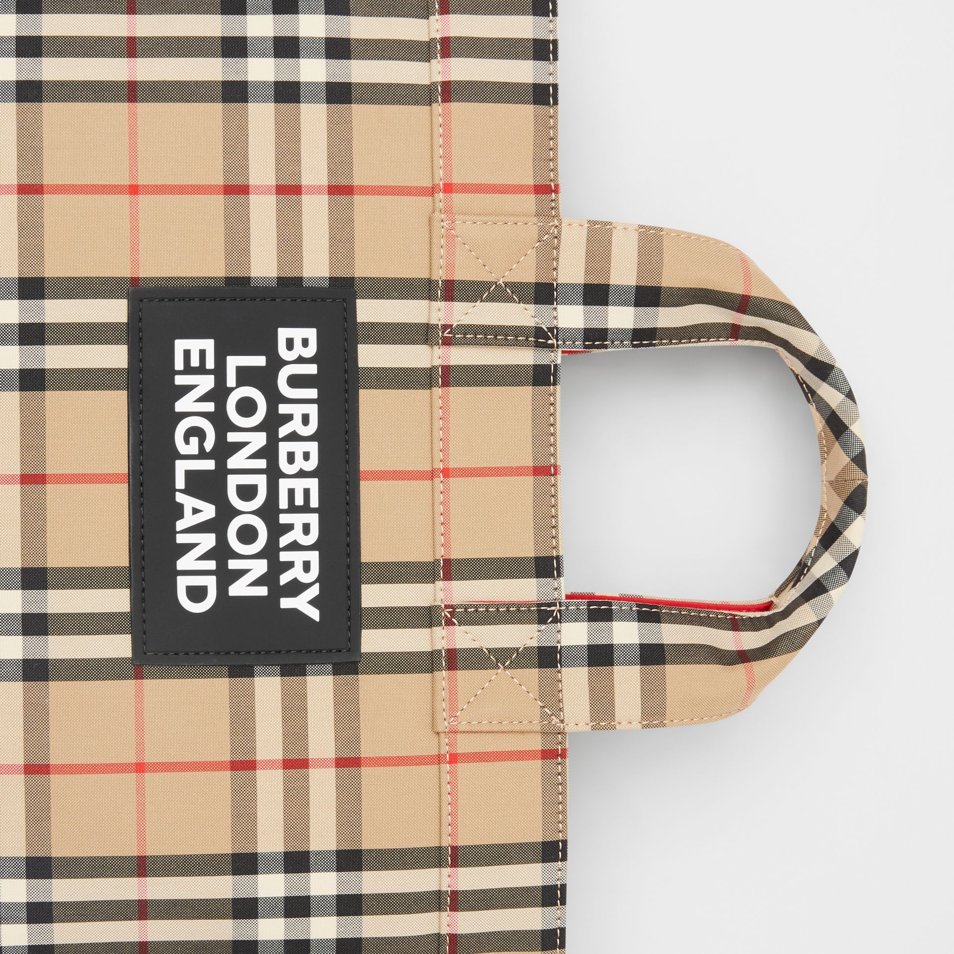 Logo Appliqué Vintage Check Cotton Blend Tote in Archive Beige - Men | Burberry United Kingdom - gallery image 1
