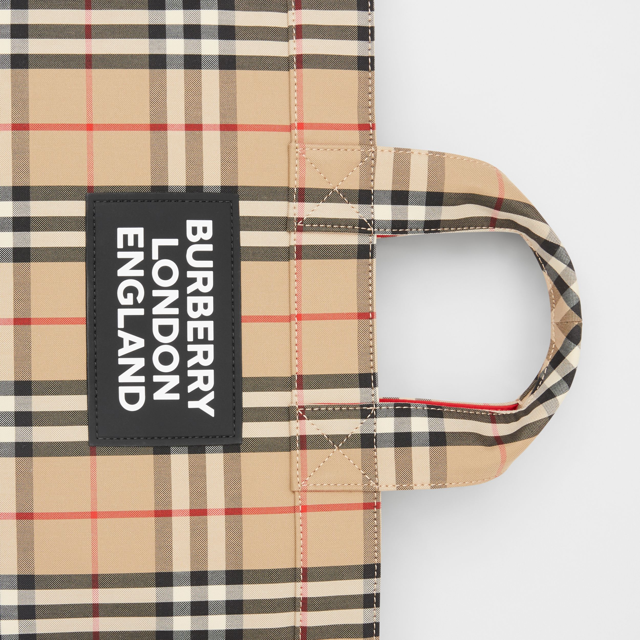 Logo Appliqué Vintage Check Cotton Blend Tote in Archive Beige - Men | Burberry - 2