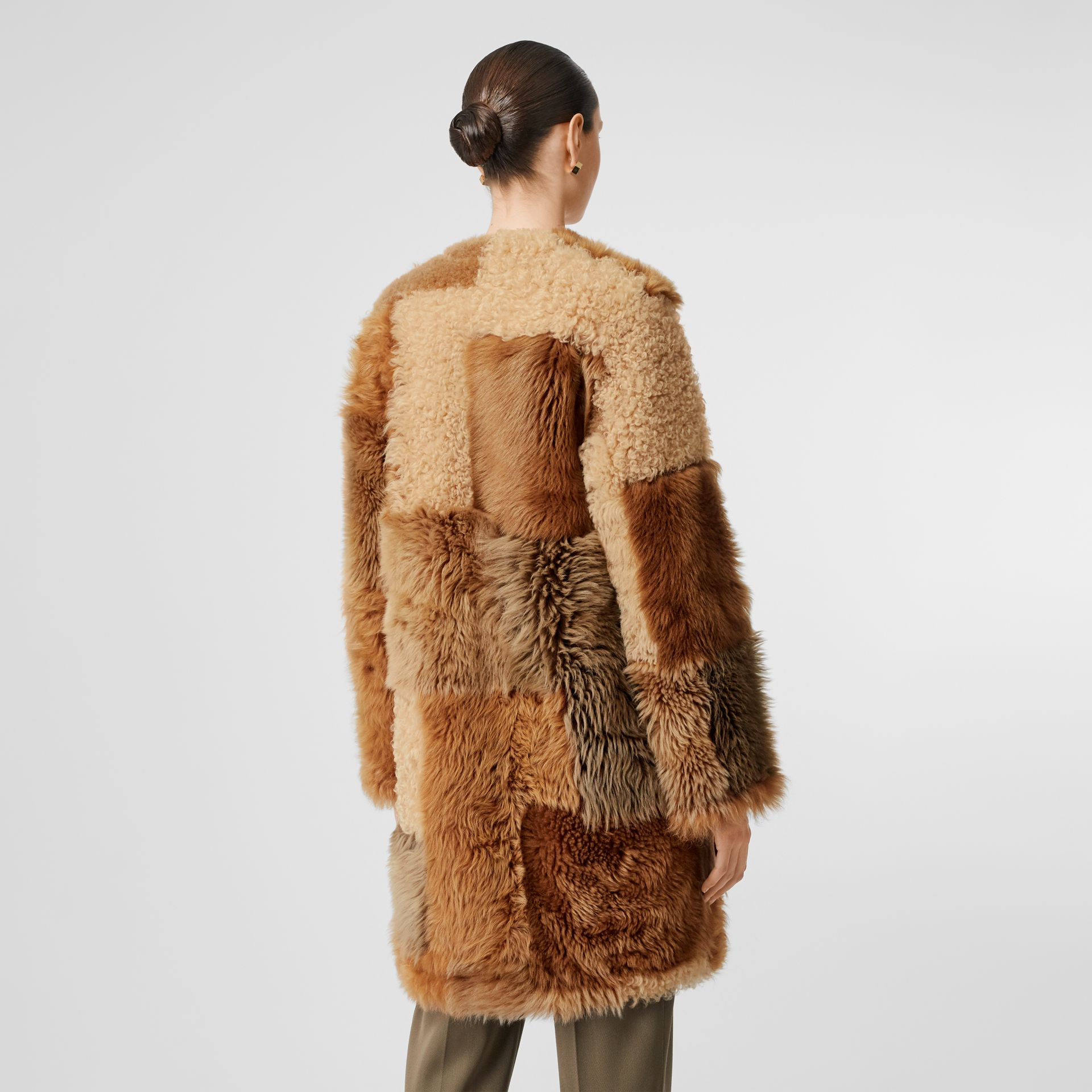 Patchwork Shearling Coat in Toffee - Women | Burberry - gallery image 3